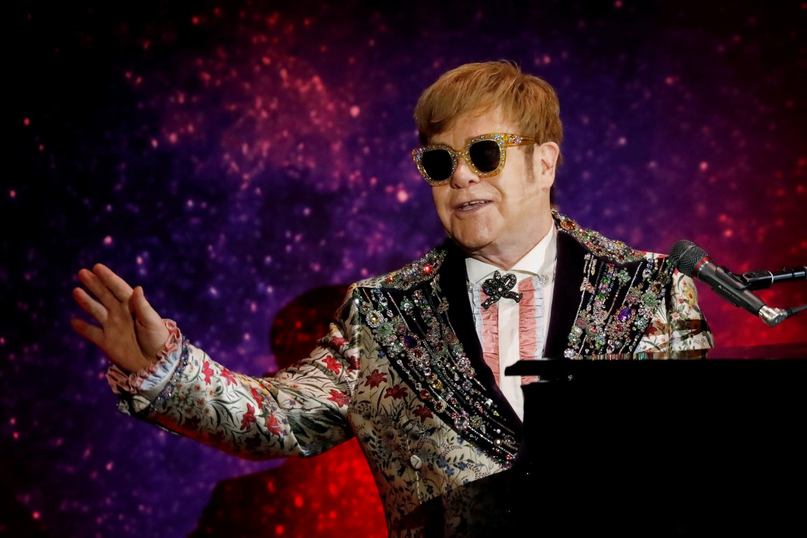 "Singer Elton John performs before announcing his final ""Farewell Yellow Brick Road"" tour in Manhattan"