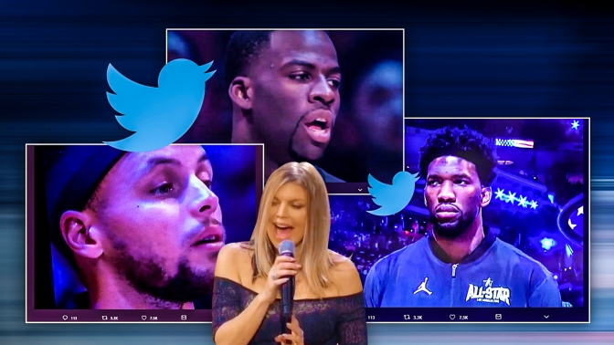 Check out REACTIONS from #StephCurry #LebronJames #JimmyKimmel & more to #Fergie's WACKY Anthem! [vid]