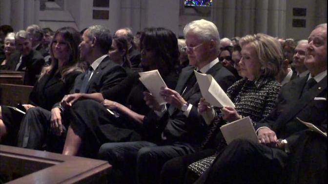 Remembering #BarbaraBush. #TheObamas & #TheClintons attend the funeral. [vid]