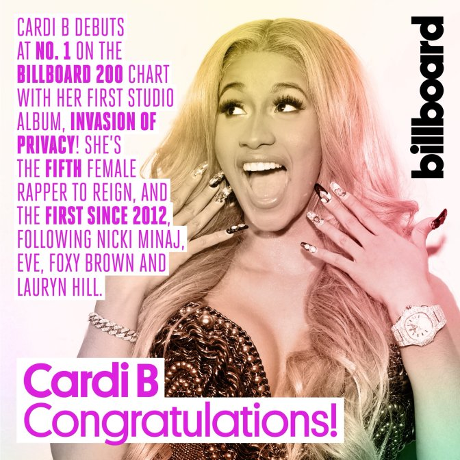 On The Charts: #CardiB's 'Invasion' debuts at #1! [details]