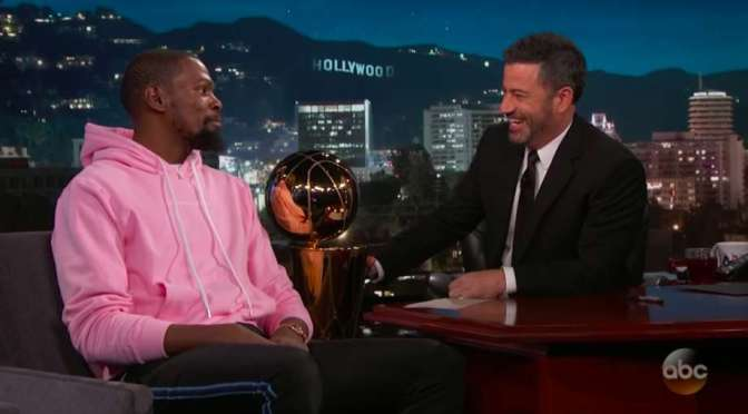 #KevinDurant talks #NBAFinals win, #JRSmith BLUNDER and #Lebron on #JimmyKimmel! [vid]