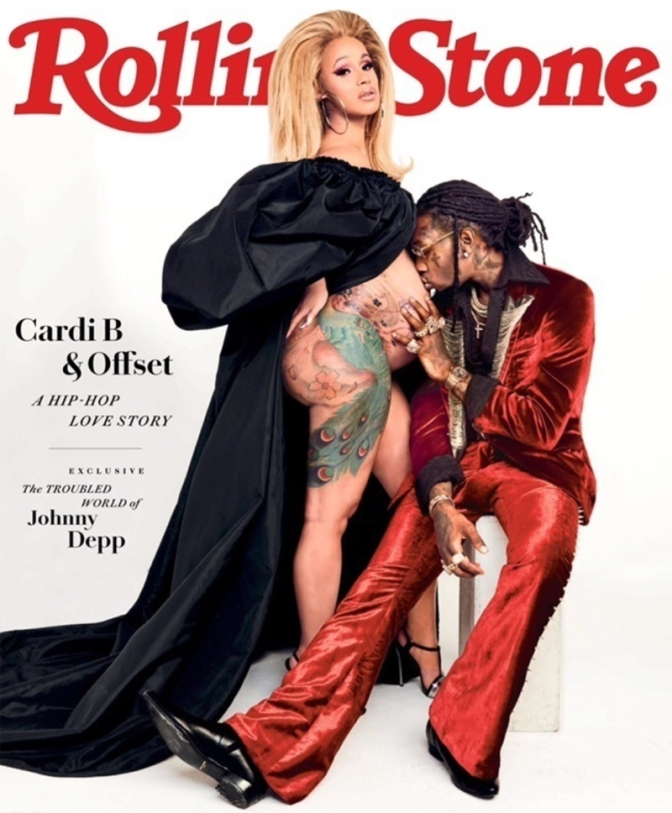 MAG TAG: #CardiB bares BABY BUMP on #RollingStone with #Offset! [pic]
