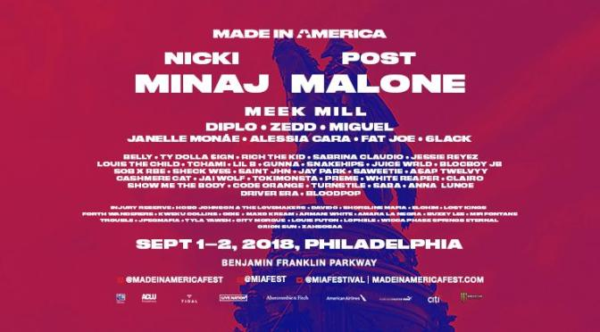 #NickiMinaj & #PostMalone to headline #MadeInAmerica fest!  #MeekMill to perform & MORE! [details]