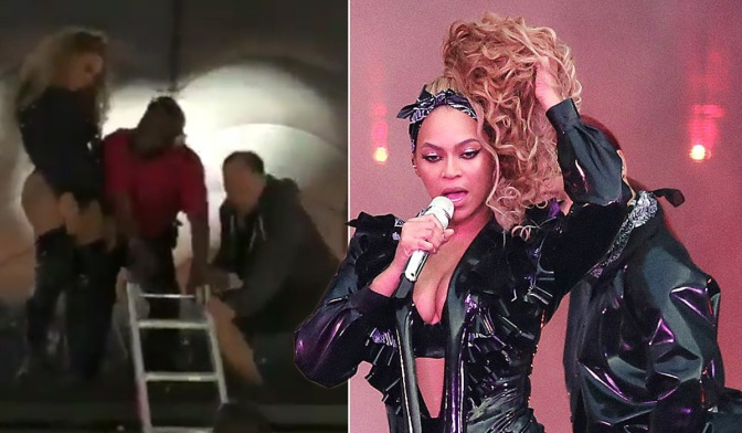 PROTECT THE QUEEN! #Beyonce STRANDED 20 ft. in the air after STAGE MALFUNCTION! [vid]