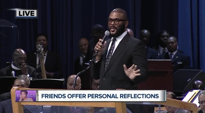 #ArethaHomegoing: #TylerPerry SPEAKS and brings #Madea along too! [vid]