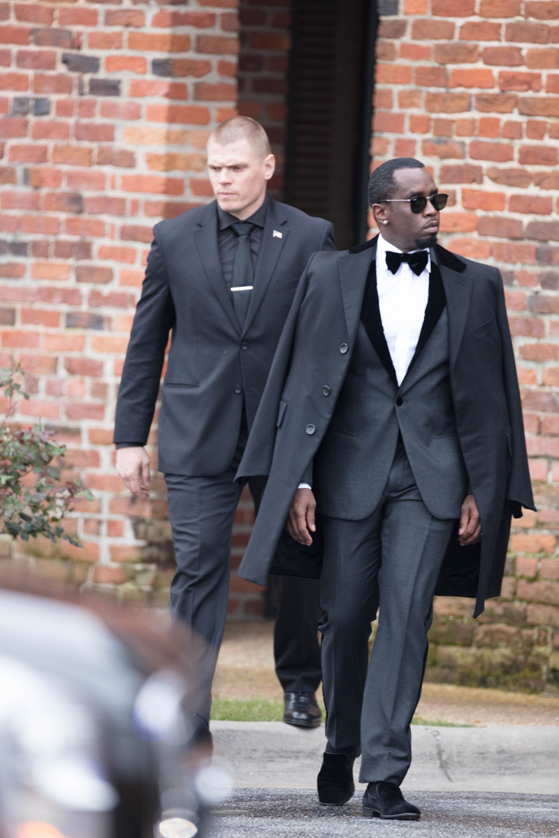 *EXCLUSIVE* Sean Combs leaves for Kim Porter's funeral