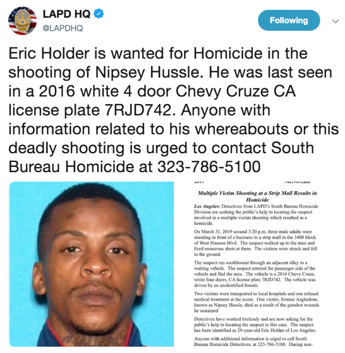 #LAPD release photo & name of SUSPECT wanted for SHOOTING #NipseyHussle! [details]