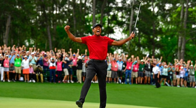 #TigerWoods WINS his 5th #Master's title, his 1st since 2005! [vid]