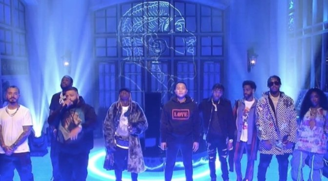 #SNL44- #DJKhaled performs 'Jealous' & 'Just Us' medley with #Lilwayne #BigSean #Sza #MeekMill #JohnLegend & more! [VID]