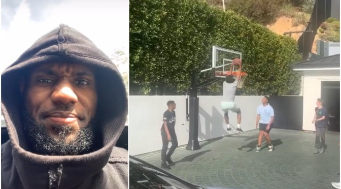 #LeBronJames comes home early to hia son HOOPING in the driveway! [Vid]