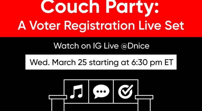 Dj #DNice and former 1st Lady #MichelleObama team for #CouchParty to register voters! [Details]