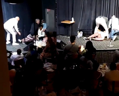 #DLHughley PASSES out onstage during comedy set! [Vid]