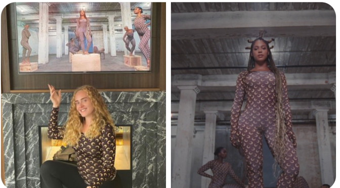 Twinning! #Adele rocks matching #Beyonce outfit from #BlackIsKing! [Pics]