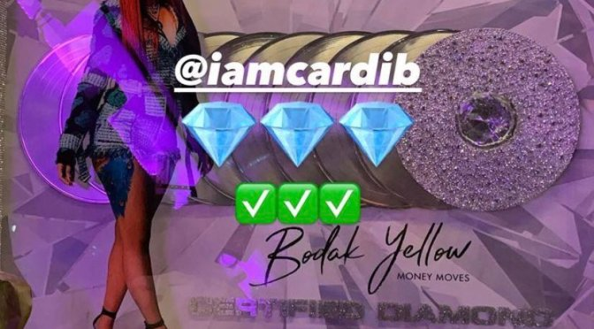 #CardiB REACTS to becoming 1st female rapper with CERTIFIED DIAMOND single for #BodakYellow [vid]
